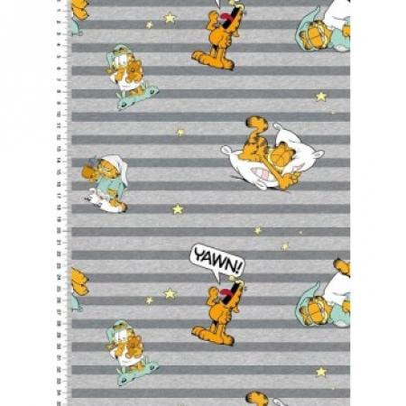 Urmelis Stoffwelt- Jersey - Garfield Schlafmütze grau- gemustert ...